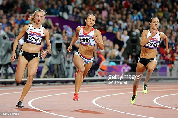 Brianne Theisen of Canada Jessica Ennis of Great Britain and Jessica Zelinka of Canada compete in the Women's Heptathlon 200m on Day 7 of the London...