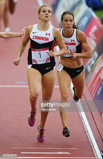 Brianne Theisen-Eaton of Canada and Jessica Zelinka of Canada sprint to the finish line in the Women's Heptathlon 800 metres at Hampden Park during...
