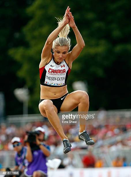Brianne Theisen-Eaton of Canada competes in the women's long jump final on Day 14 of the Toronto 2015 Pan Am Games on July 24, 2015 in Toronto,...
