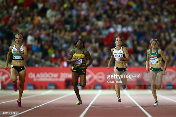 Brianne Theisen-Eaton of Canada, Salcia Slack of Jamaica, Jessica Zelinka of Canada and Sophie Stanwell of Australia compete in the Women's...