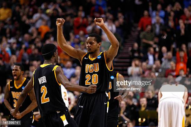 Briante Weber and Bradford Burgess of the Virginia Commonwealth Rams react after defeating the Wichita State Shockers 6259 in the second round of the...