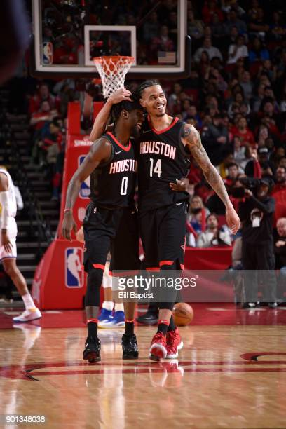 Briante Weber and Gerald Green of the Houston Rockets during the game against the Golden State Warriors on January 4 2018 at the Toyota Center in...