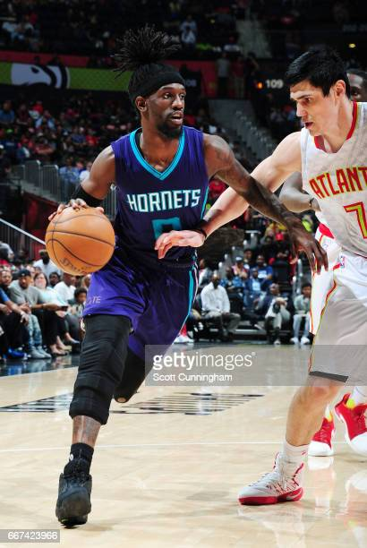 Briante Weber of the Charlotte Hornets handles the ball against the Atlanta Hawks during the game on April 11 2017 at Philips Arena in Atlanta...