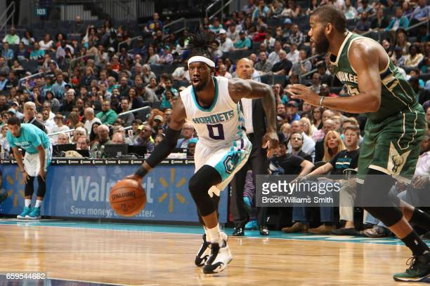 Briante Weber of the Charlotte Hornets handles the ball during a game against the Milwaukee Bucks on March 28 2017 at the Spectrum Center in...