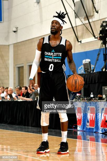 Briante Weber of the Charlotte Hornets handles the ball during the game against the Oklahoma City Thunder during the 2017 Orlando Summer League on...