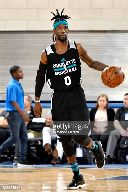 Briante Weber of the Charlotte Hornets handles the ball during the game against the Detroit Pistons during the 2017 Orlando Summer League on July 5...
