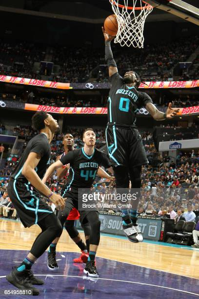 Briante Weber of the Charlotte Hornets shoots a lay up against the Washington Wizards during the game on March 18 2017 at Spectrum Center in...