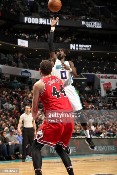 Briante Weber of the Charlotte Hornets shoots the ball against the Chicago Bulls on March 13 2017 at Spectrum Center in Charlotte North Carolina NOTE...