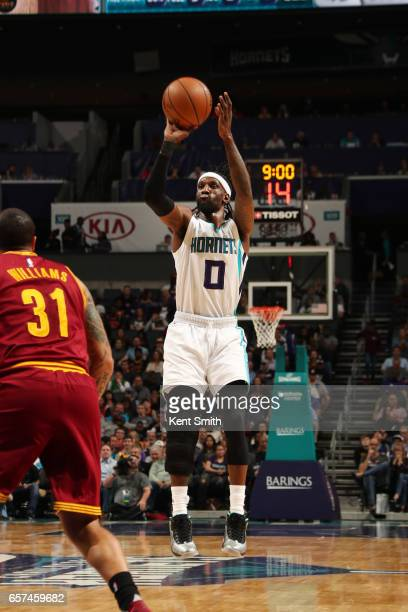 Briante Weber of the Charlotte Hornets shoots the ball during a game against the Cleveland Cavaliers on March 24 2017 at the Spectrum Center in...