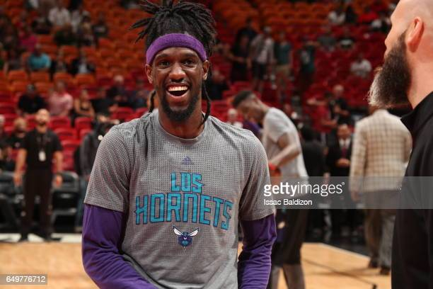 Briante Weber of the Charlotte Hornets warms up before the game against the Miami Heaton March 8 2017 at AmericanAirlines Arena in Miami Florida NOTE...