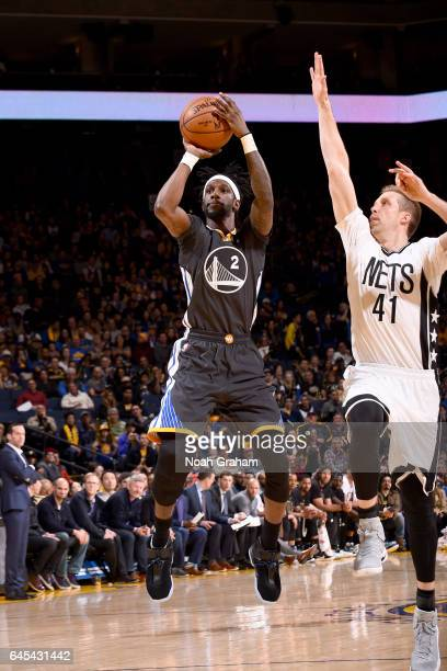 Briante Weber of the Golden State Warriors shoots the ball against the Brooklyn Nets on February 25 2017 at ORACLE Arena in Oakland California NOTE...