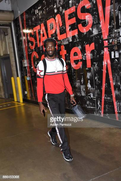 Briante Weber of the Houston Rockets arrives at the arena before the game against the Los Angeles Lakers on December 3 2017 at STAPLES Center in Los...
