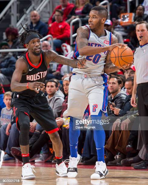 Briante Weber of the Houston Rockets defends against Dwight Buycks of the Detroit Pistons during the an NBA game at Little Caesars Arena on January 6...