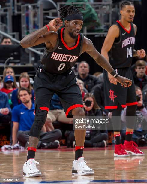 Briante Weber of the Houston Rockets defends against the Detroit Pistons during the an NBA game at Little Caesars Arena on January 6 2018 in Detroit...