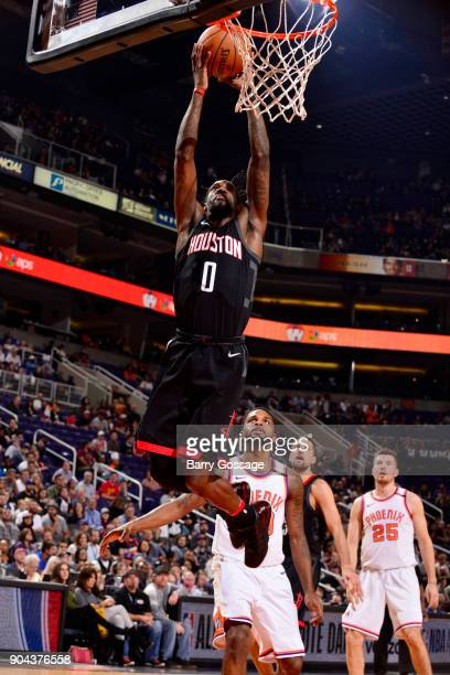 Briante Weber of the Houston Rockets dunks the ball during the game against the Phoenix Suns on January 12 2018 at Talking Stick Resort Arena in...