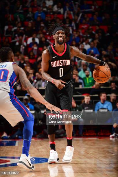 Briante Weber of the Houston Rockets handles the ball against the Detroit Pistons on January 6 2018 at Little Caesars Arena in Detroit Michigan NOTE...