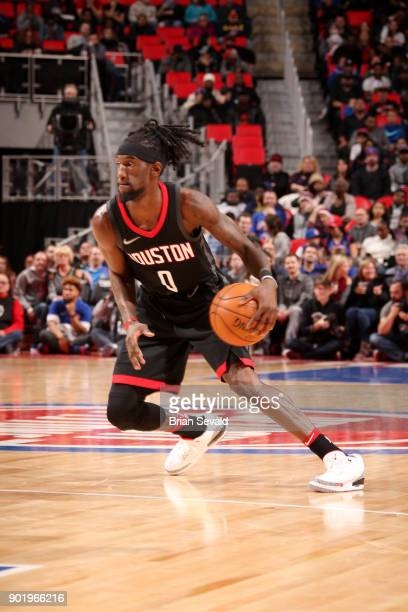 Briante Weber of the Houston Rockets handles the ball during the game against the Detroit Pistons on January 6 2018 at Little Caesars Arena in...