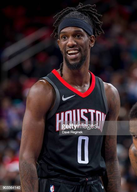 Briante Weber of the Houston Rockets looks down court against the Detroit Pistons during the an NBA game at Little Caesars Arena on January 6 2018 in...