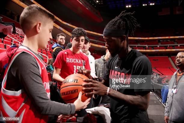 Briante Weber of the Houston Rockets signs autographs for fans prior to the game against the Detroit Pistons on January 6 2018 at Little Caesars...