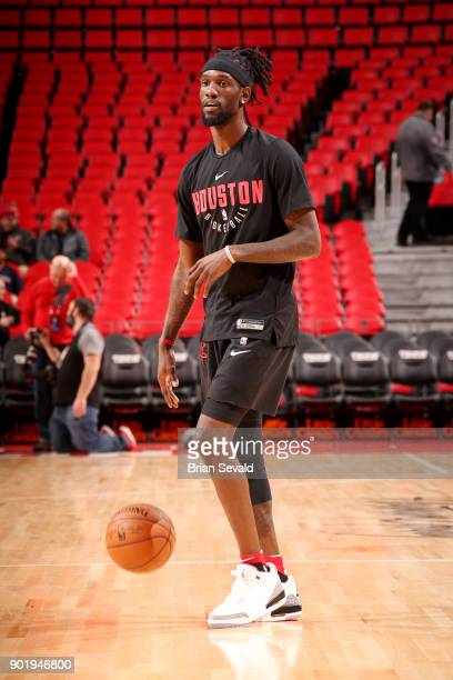 Briante Weber of the Houston Rockets warms up prior to the game against the Detroit Pistons on January 6 2018 at Little Caesars Arena in Detroit...
