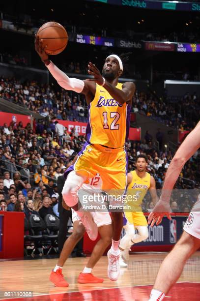 Briante Weber of the Los Angeles Lakers goes to the basket against the LA Clippers on October 13 2017 at STAPLES Center in Los Angeles California...