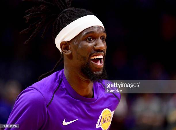 Briante Weber of the Los Angeles Lakers laughs during warm up before the game against the LA Clippers at Staples Center on October 10 2017 in Los...