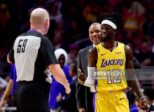 Briante Weber of the Los Angeles Lakers reacts in front of Doc Rivers of the LA Clippers after he is ejected from the game during a 111104 win over...