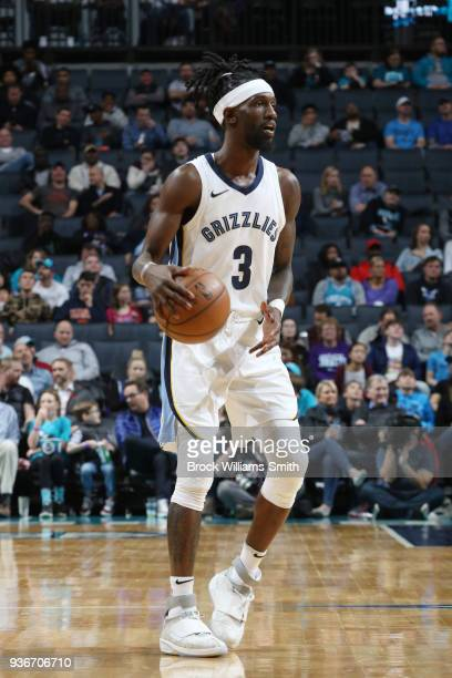 Briante Weber of the Memphis Grizzlies handles the ball against the Charlotte Hornets on March 22 2018 at Spectrum Center in Charlotte North Carolina...