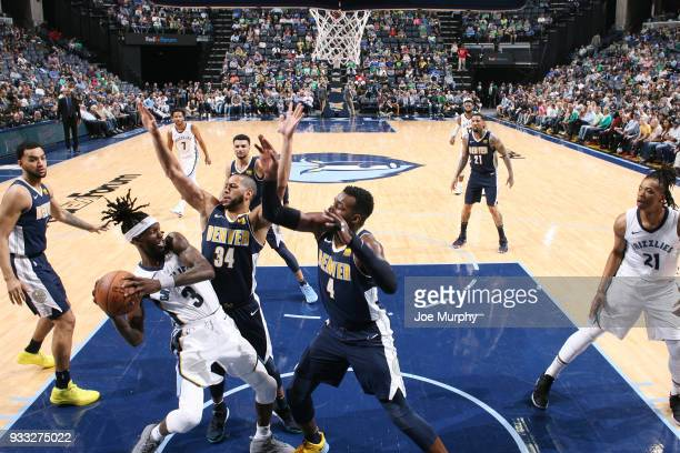 Briante Weber of the Memphis Grizzlies looks to pass against the Denver Nuggets on March 17 2018 at FedExForum in Memphis Tennessee NOTE TO USER User...