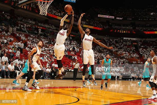 Briante Weber of the Miami Heat goes for the rebound against the Charlotte Hornets during Game One of the Eastern Conference Quarterfinals of the...