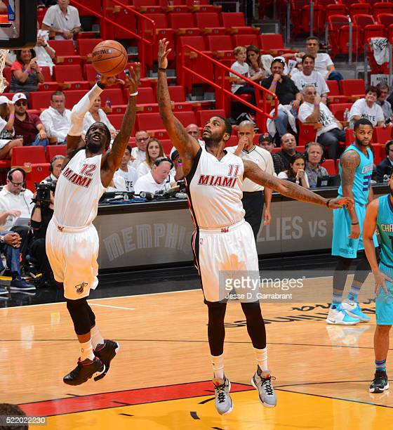 Briante Weber of the Miami Heat grabs the rebound against the Charlotte Hornets during the Eastern Conference playoffs First Round Game One on April...