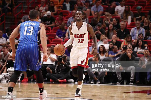 Briante Weber of the Miami Heat handles the ball against the Orlando Magic on October 18 2016 at American Airlines Arena in Miami Florida NOTE TO...