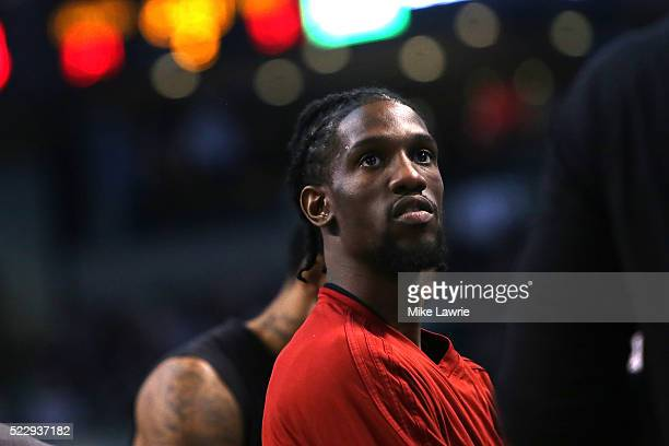 Briante Weber of the Miami Heat looks on during a timeout against the Boston Celtics at TD Garden on April 13 2016 in Boston Massachusetts NOTE TO...