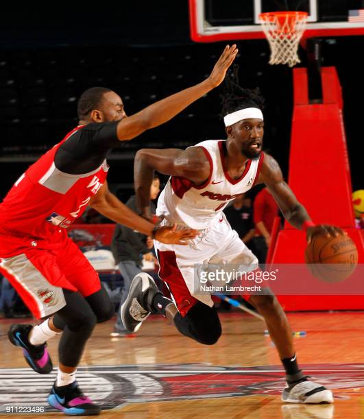 Briante Weber of the Sioux Falls Skyforce drives the ball on Markel Brown of the Rio Grande Valley Vipers during an NBA GLeague game on January 27...