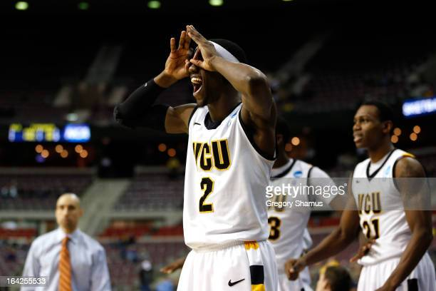 Briante Weber of the Virginia Commonwealth Rams reacts in the second half against the Akron Zips during the second round of the 2013 NCAA Men's...