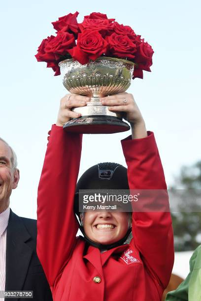 Briar BurnettGrant celebrates winning the Horse of the Year title during New Zealand Horse of the Year on March 18 2018 in Hastings New Zealand