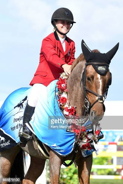 Briar BurnettGrant rides Fiber Fresh Veroana and wins the Horse of the Year title during New Zealand Horse of the Year on March 18 2018 in Hastings...