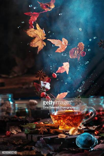 briar tea with autumn swirl - swirl stock pictures, royalty-free photos & images