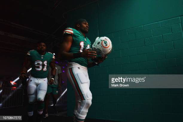 Brice Butler of the Miami Dolphins prior to the game against the New England Patriots at Hard Rock Stadium on December 9 2018 in Miami Florida