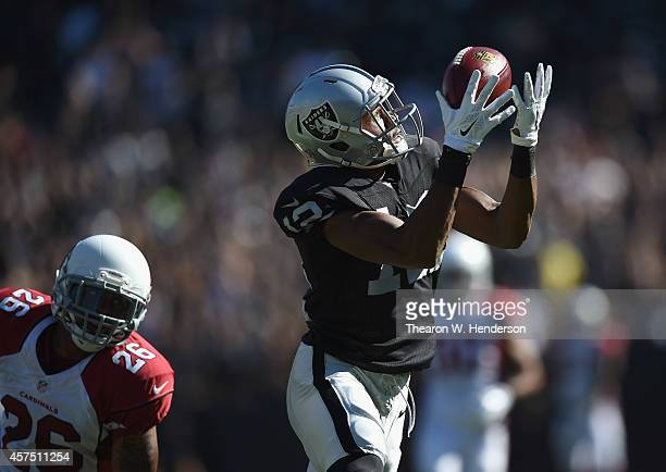 Brice Butler of the Oakland Raiders pulls in a 55yard pass reception in the first half against the Arizona Cardinals at Oco Coliseum on October 19...