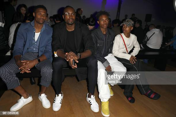 Brice ButlerSerge IbakaKailand and Mandela Morris attend the Cerruti 1881 Menswear Spring/Summer 2019 show as part of Paris Fashion Week on June 22...