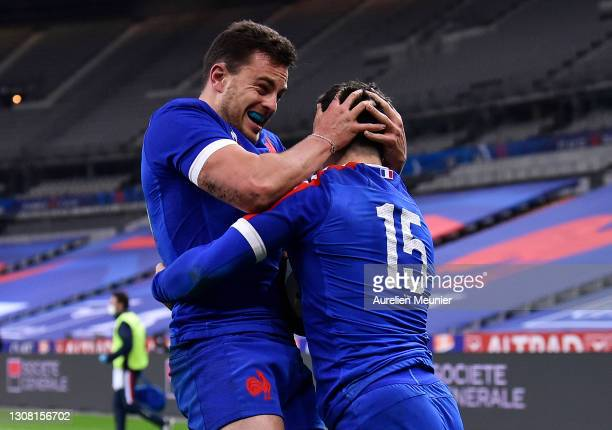 Brice Dulin of France celebrates scoring his sides 4th and winning try with Arthur Vincent during the Guinness Six Nations match between France and...