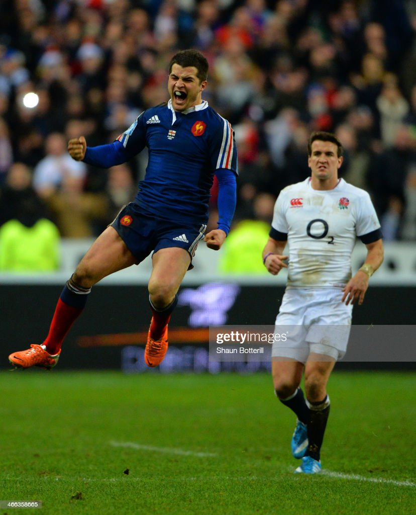 Brice Dulin of France celebrates victory at the end of the match during the RBS Six Nations match between France and England at Stade de France on February 1, 2014 in Paris, France.