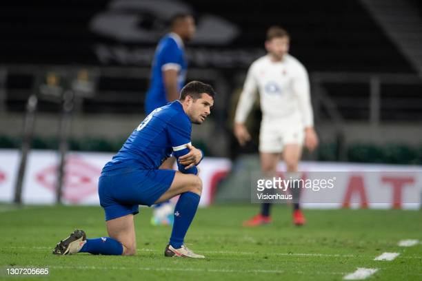 Brice Dulin of France reacts to defeat after the Guinness Six Nations match between England and France at Twickenham Stadium on March 13, 2021 in...