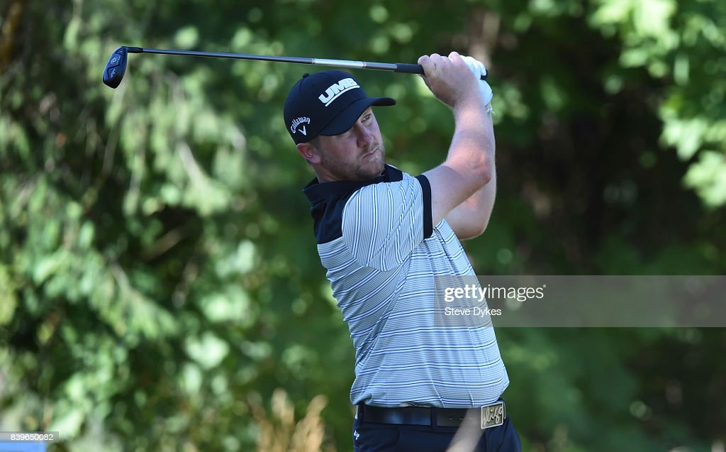 Brice Garnett hits his drive on the 17th hole during round three of the WinCo Foods Portland Open at Pumpkin Ridge Golf Club - Witch Hollow on August 26, 2017 in North Plains, Oregon.