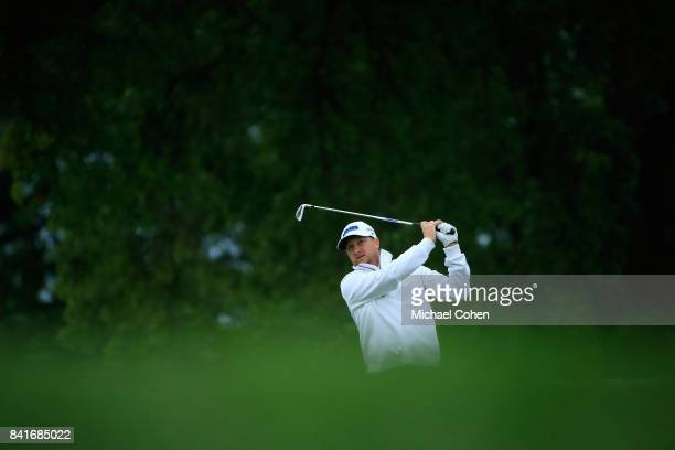 Brice Garnett hits his tee shot on the 13th hole during the second round of the Nationwide Children's Hospital Championship held at The Ohio State...