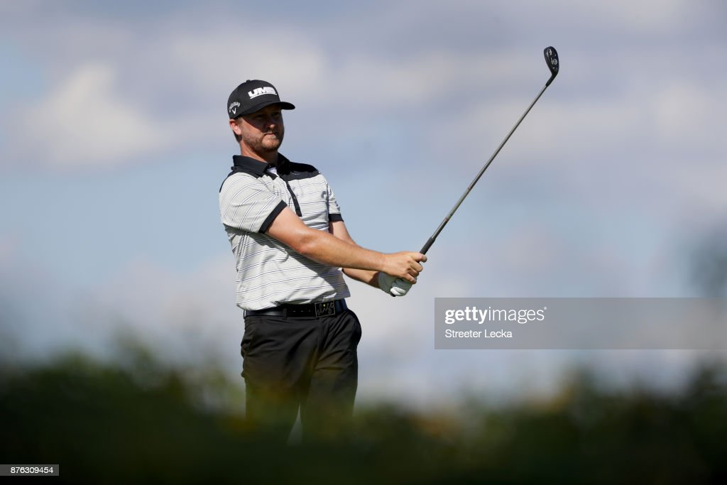 Brice Garnett of the United States plays his shot from the eighth tee during the third round of The RSM Classic at Sea Island Golf Club Seaside Course on November 18, 2017 in St Simons Island, Georgia.
