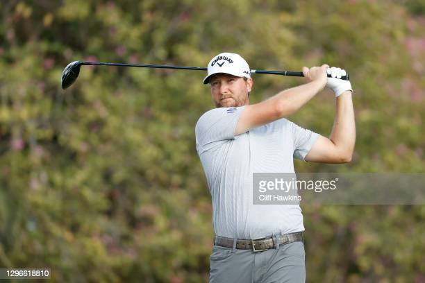 Brice Garnett of the United States plays his shot from the fifth tee during the second round of the Sony Open in Hawaii at the Waialae Country Club...