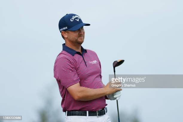 Brice Garnett of the United States plays his shot from the first tee during the third round of the Bermuda Championship at Port Royal Golf Course on...