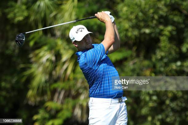 Brice Garnett of the United States plays his shot from the second tee during the final round of the Mayakoba Golf Classic at El Camaleon Mayakoba...